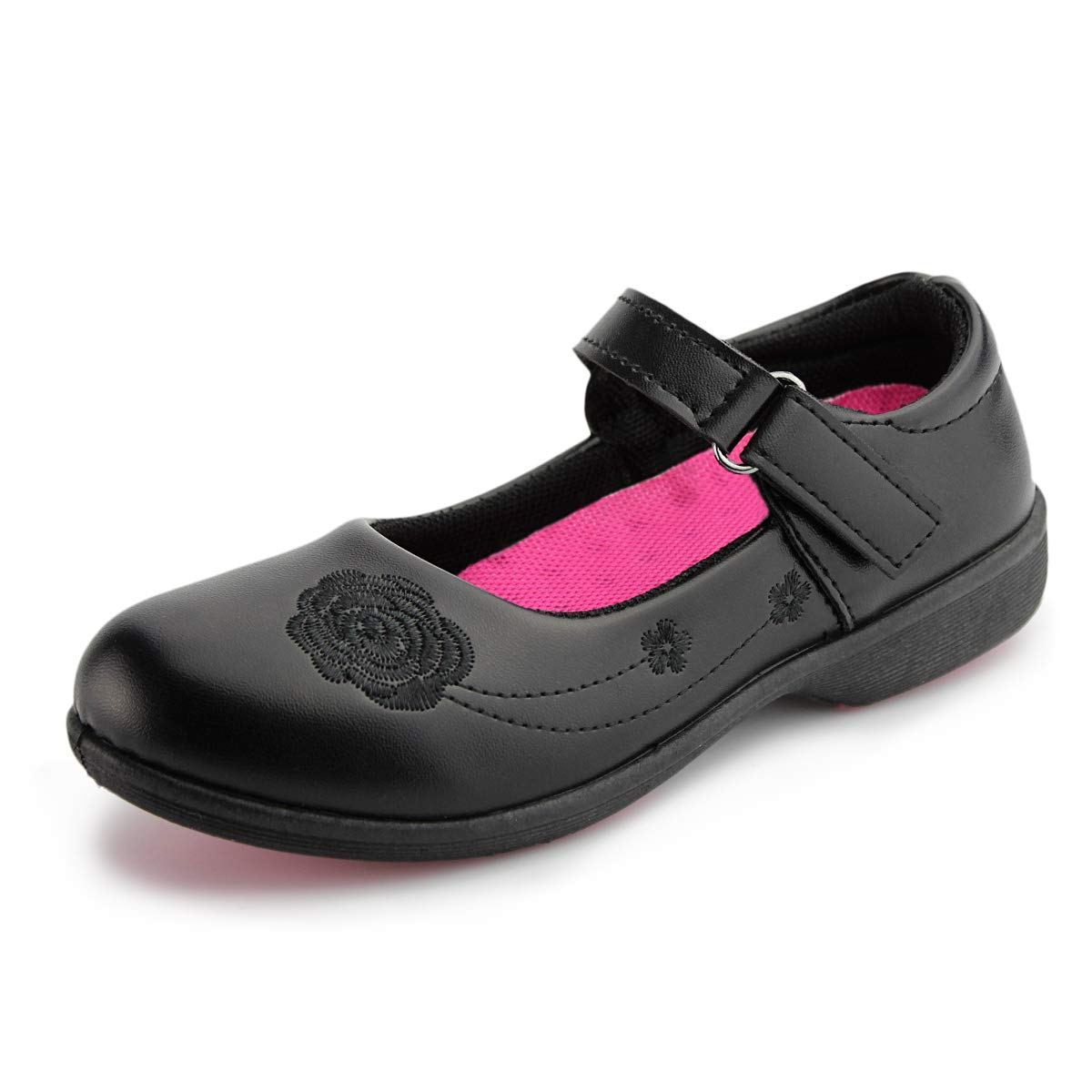 Hawkwell Girl's Strap School Uniform Dress Shoe Mary Jane Flat (Toddler/Little Kid), Black PU, 1 M US