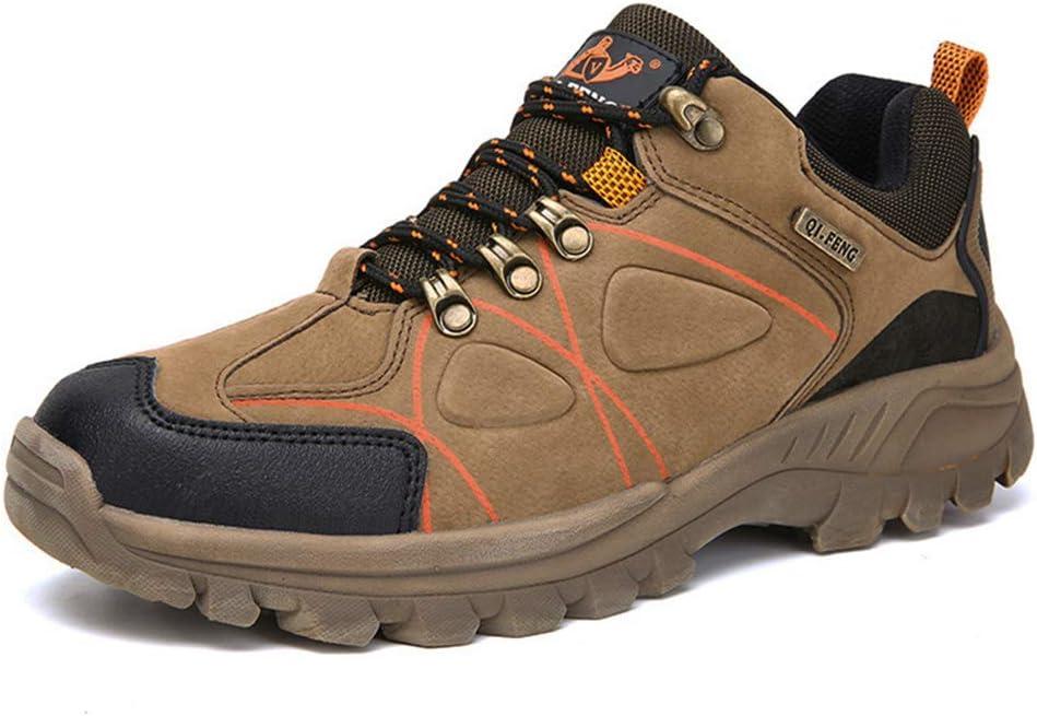 ZPWY Zapatos de Trekking para Hombres Cuero Impermeable Caminar al Aire Libre Ligero Bajo Sendero Atletismo Acampar Monta/ñismo Zapatillas de Deporte Deportivas,Brown-39