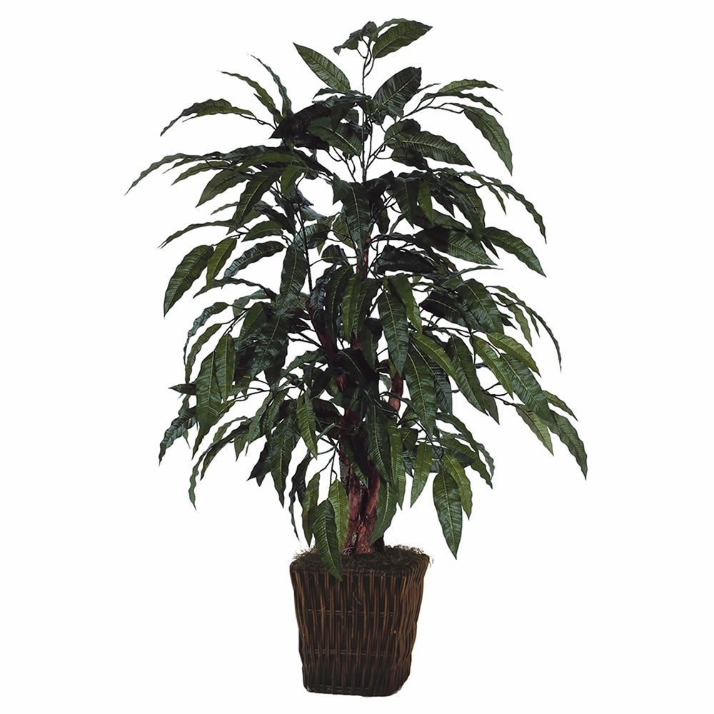 Vickerman 4' Artificial Mango Bush in Square Willow Container