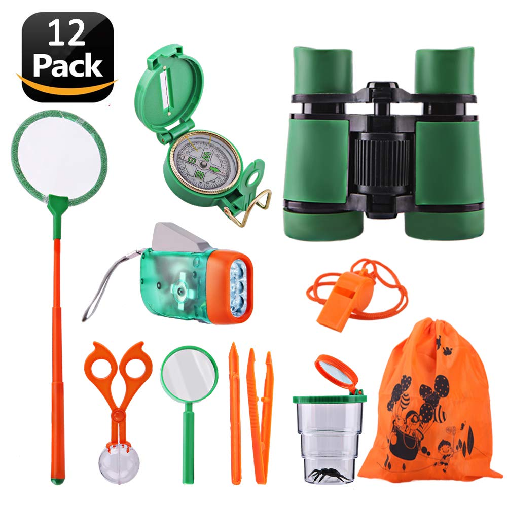 Adventure Kids - Outdoor Explorer Exploration Children's Toys Kit- Binoculars, Flashlight, Compass, Magnifying Glass, Whistle, Butterfly Net for Educational, Camping, Hiking, Backyard
