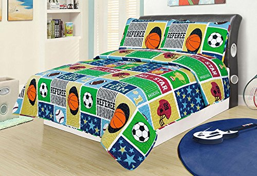Light Mlb Night Baseball (Full 3 Piece Bed Set Bedding Quilt Bedspread, Sports Football Basketball Soccer Baseball Boys)