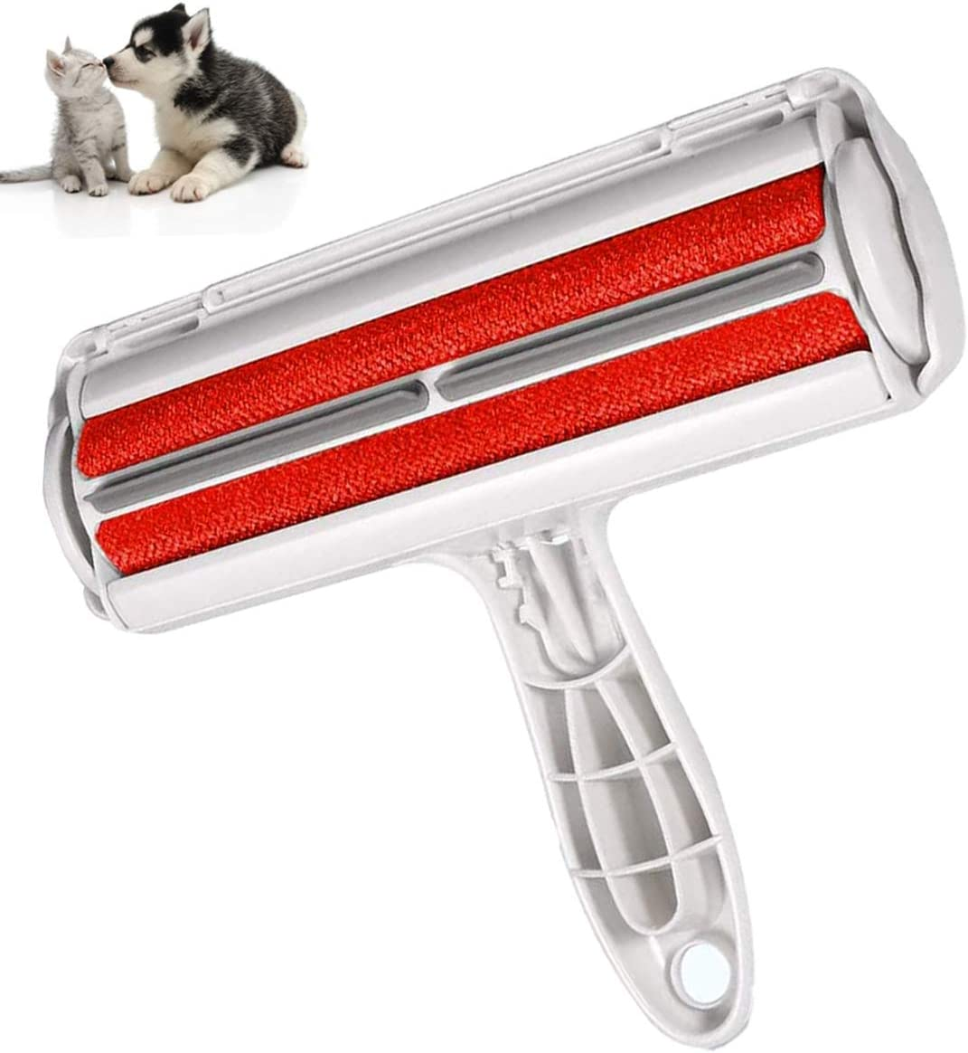 Lint Rollers, Cat Hair Remover Roller, Lint Roller No Adhesive or Sticky Tape Needed, Efficient Pet Hair Remover Tool, Self Cleaning Reusable Fur Remover from Furniture Couch Carpet Bed Cloth(Red)