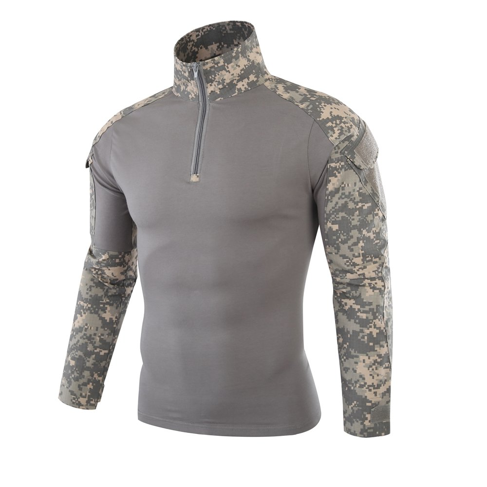 INFMETRY Men's Camouflage Military Uniform Tactical Combat Long Sleeve Shirts
