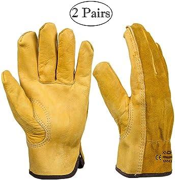WQ130 guantes de jardiner/ía de cuero vacuno con guantelete largo para proteger tus brazos hasta el codo para hombre y mujer 1 Guantes a prueba de espinas Lightgreen
