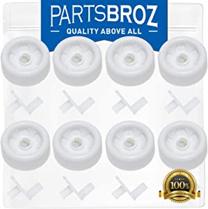 WD35X21038 (8-Pack) Lower Dishrack Roller Kit for GE Washers by PartsBroz - Replaces Part Numbers AP5986365, WD12X10267, WD12X10074, PS11726733, WD12X0272, WD12X0441, WD12X10076 & WD12X0427
