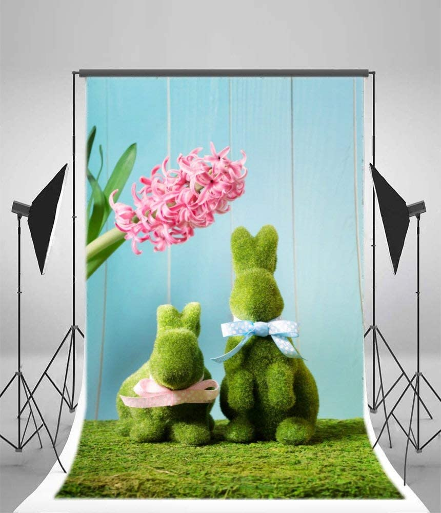 5x7ft Vinyl Photography Backdrop Easter Bunnies with Hyacinth Rabbit Hunt Moss Grass Pink Flowers Scene Photo Background Children Baby Adults Portraits Backdrop