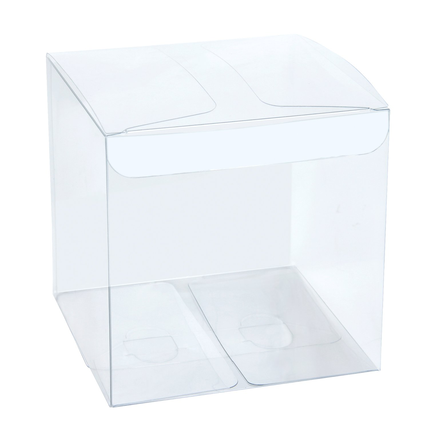 LaRibbons 30Pcs PET Clear Box, Transparent Boxes, Candy Box, Clear Gift Boxes for Wedding, Party and Baby Shower Favors, 4'' L x 4'' W x 4'' H by LaRibbons