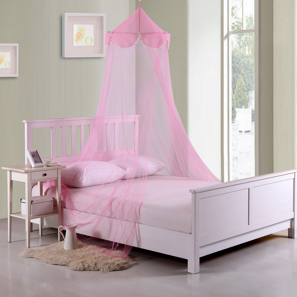 Casablanca Kids Pom Pom Collapsible Hoop Sheer Bed Canopy