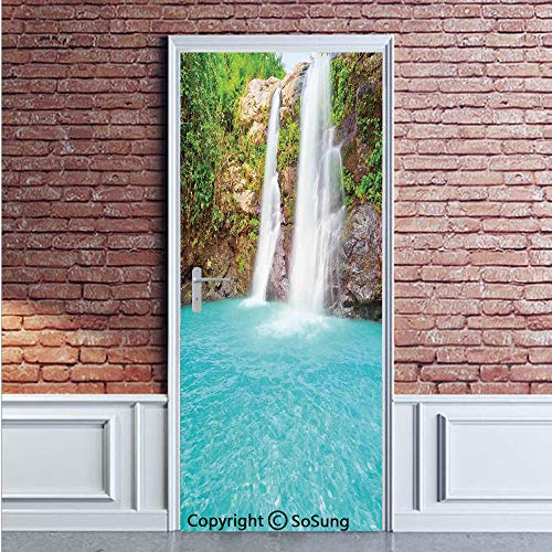 Aqua Green Pool Paint - Waterfall Door Wall Mural Wallpaper Stickers,Waterfall and Clear Natural Pool Plants Sunbeams Summer Day View,Vinyl Removable 3D Decals 35.4x78.7/2 Pieces Set,for Home Decor Aqua Green Light Brown
