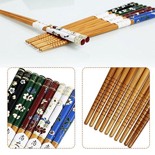 Palillos, 5 pares chino Natural de madera reutilizable Palillos, familia PACK SET de regalo: Amazon.es: Hogar