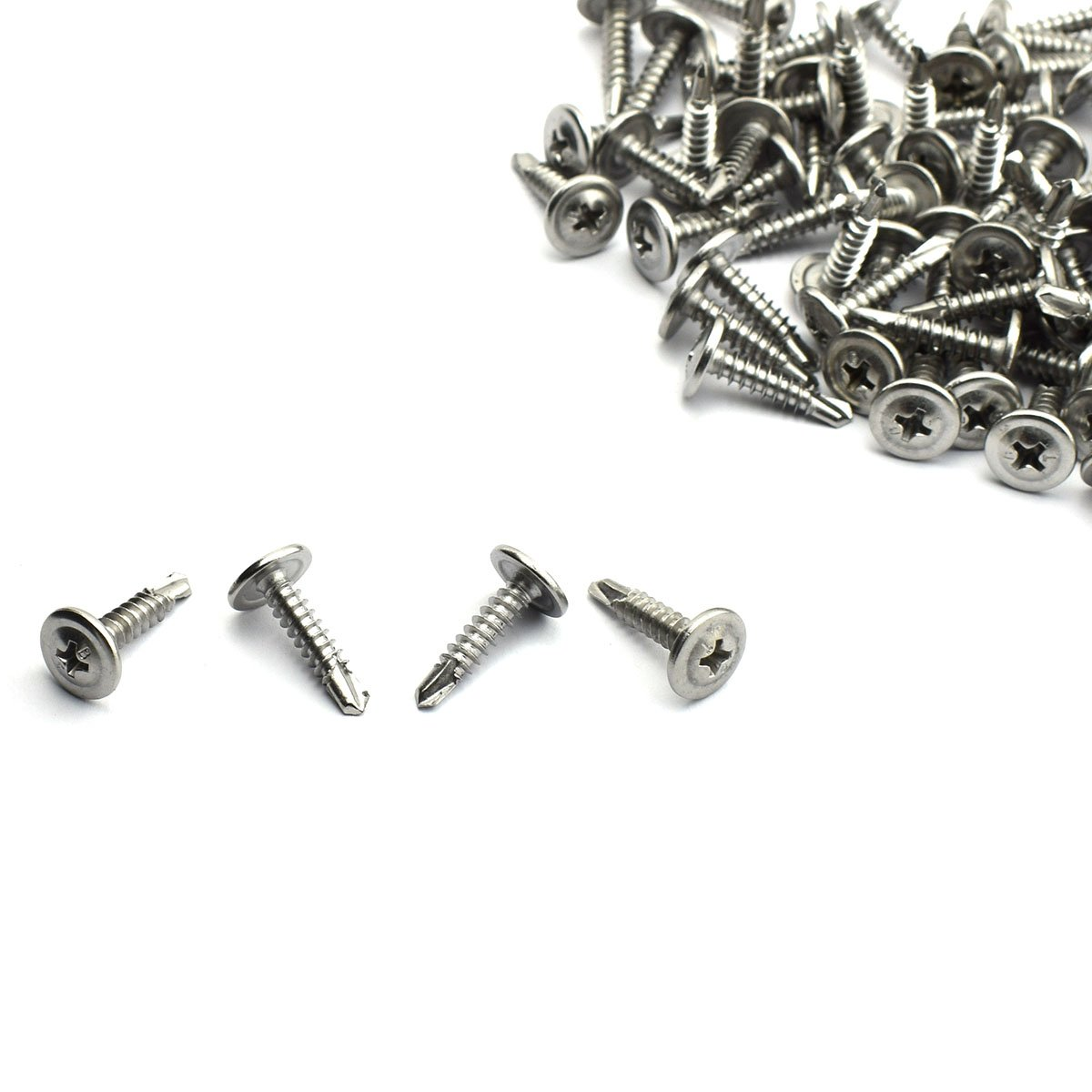 LQ Industrial 120pcs Self Driller Bolt 410 Stainless Steel Philips Drive Cross Round Flat Head Self Drilling Screws #8 3/4'' by LQ Industrial (Image #2)