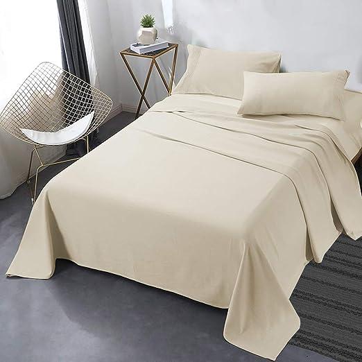 Ultra 1800 Thread Count Bamboo Microfiber Stripped 4PC Bed Sheet Set Deep Pocket