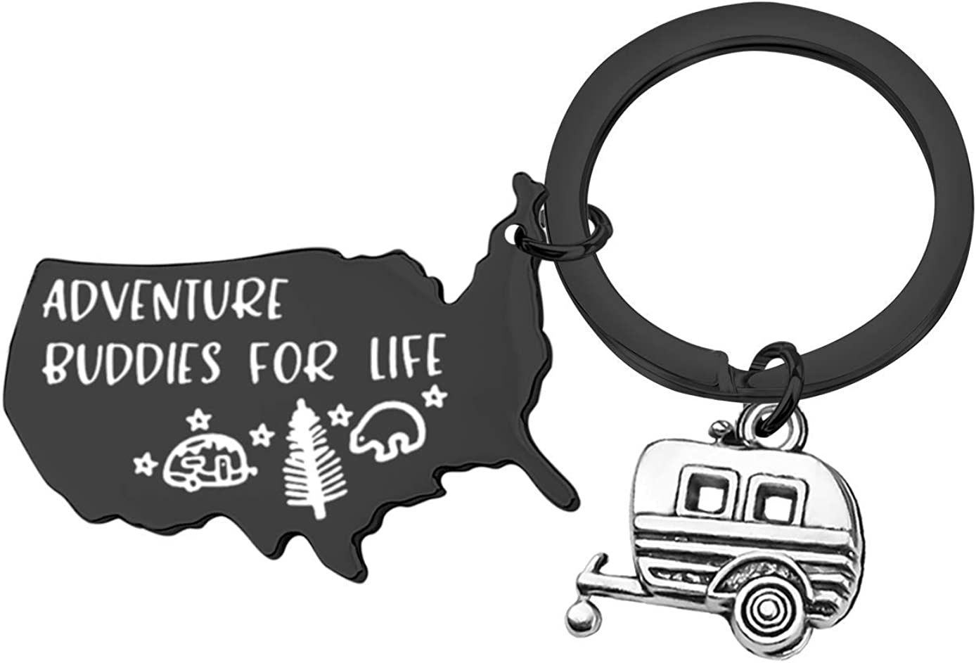 MAOFAED Camping Gift Camping Keychain RV Camper Gift Adventure Gift Adventure Buddies Keychain Outdoor Keychain Traveller Gift