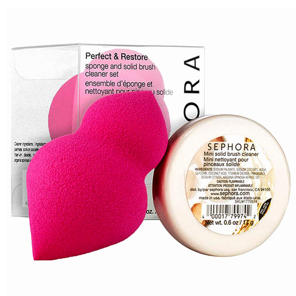 Sephora Collection Perfect & Restore Sponge And Solid Brush Cleaner Set(Sponge, Cleaner), 2-PC Set