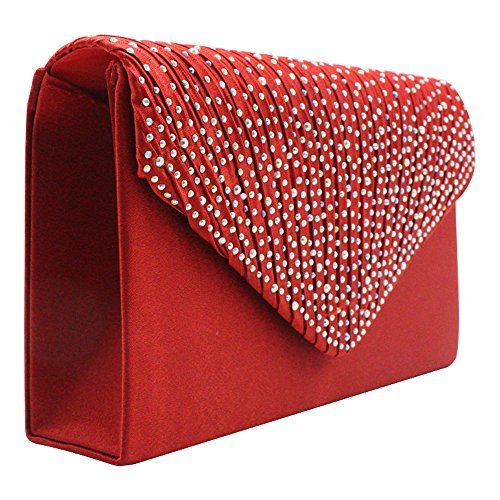 Womens Women's Shoulder Diamonte Envelope Clutch Fashion Bag Bridal Red Wocharm TM Purse Wedding Prom HandBags npqwxT58