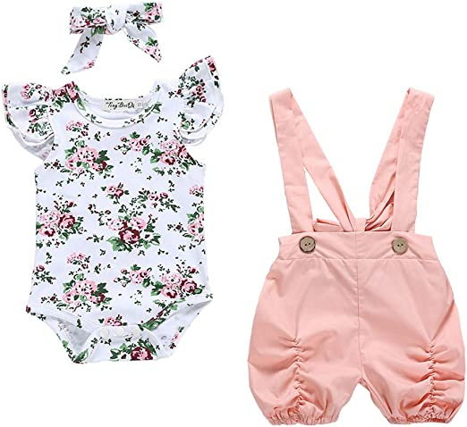 Newborn Baby Girl Clothes Floral Button Long Sleeve Romper Jumpsuit Outfit 0-18M