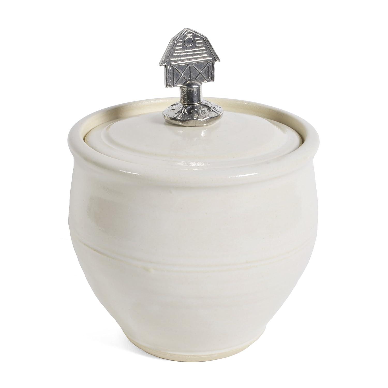 Oregon Stoneware Studio Sugar Bowl with Pewter Barn Finial Latte SGR-BRN-LAT