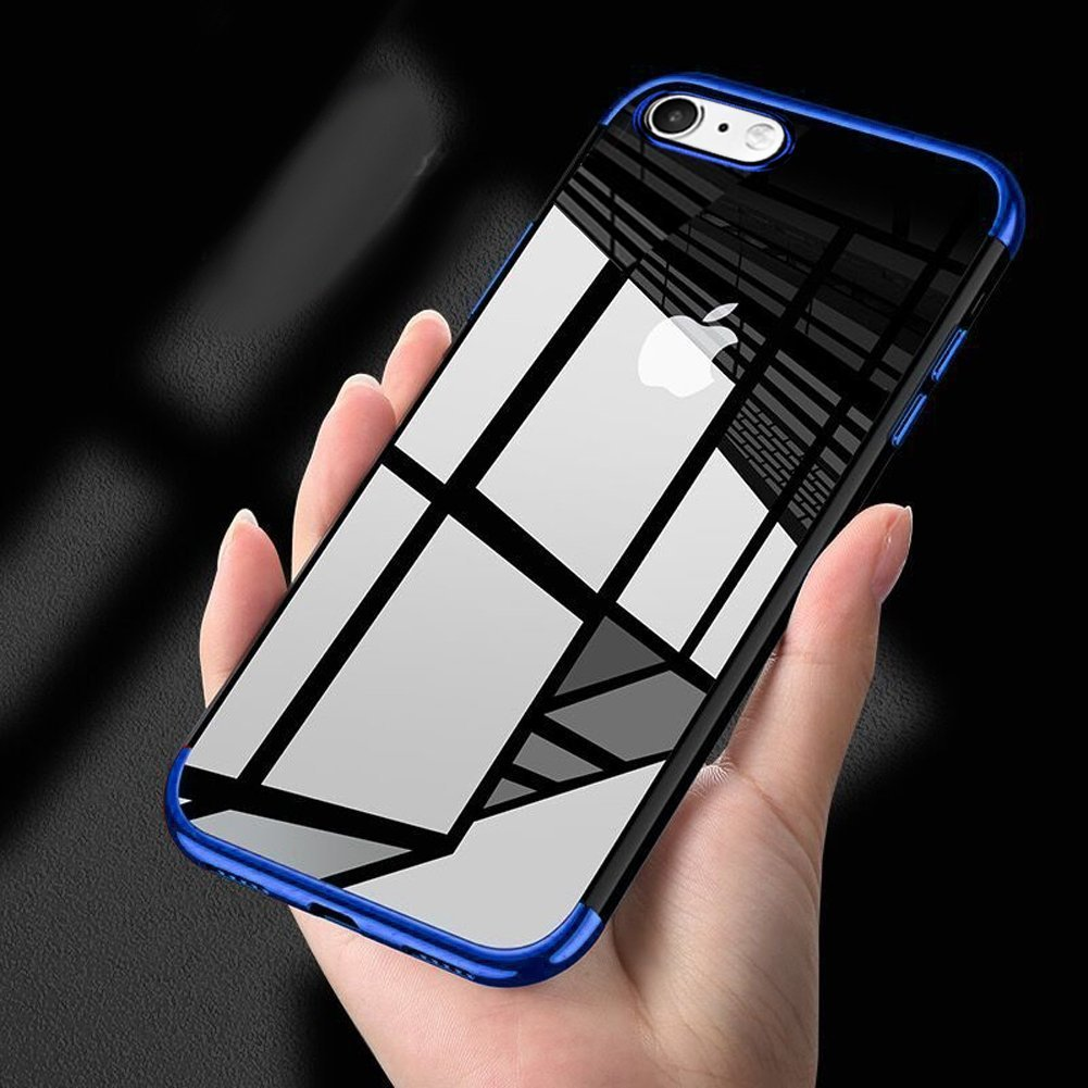 iPhone 8クリアケース、iPhone 7カバー、phezenウルトラスリムクリスタルクリアTpu製ケースメッキフレーム傷防止透明シリコンソフトジェルスキンBack Case for iPhone 7 / 8 レッド PHEZEN09521 B077JTQLN2 ブルー  ブルー
