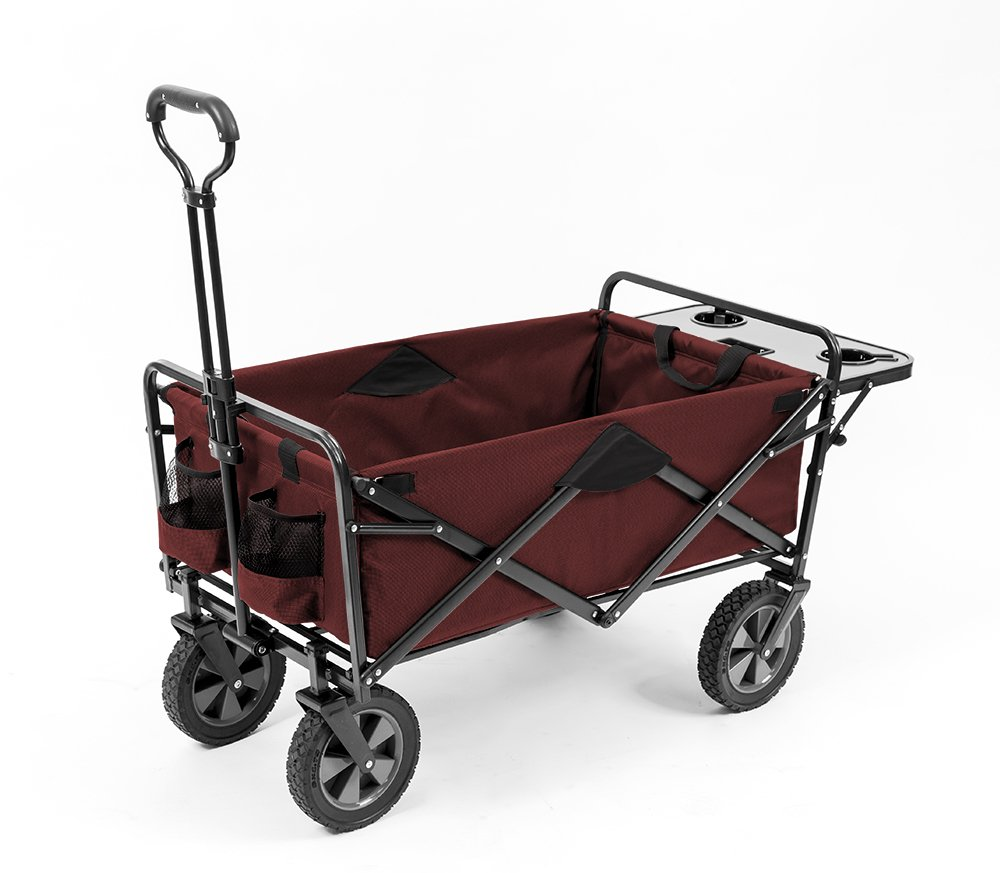 Mac Sports Collapsible Outdoor Utility Wagon with Folding Table and Drink Holders, Maroon