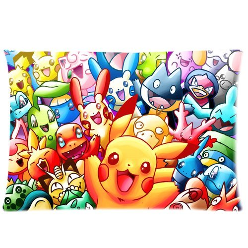 Comfortable-Zippered-Pillow-Cushion-Cover-Cute-Pokemon-Pikachu-Soft-Cotton-Pillowcase-For-Bed-Size-20×30