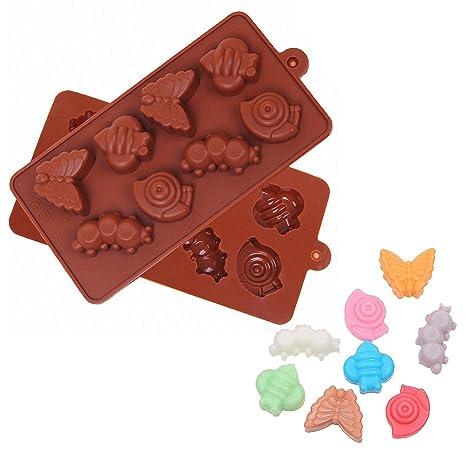 2 insectos silicona molde – moldfun Bee Caracol Caterpillar mariposa molde para Chocolate, Jello,