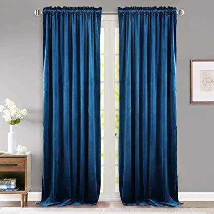 108e82a22ca8 StangH Velvet Curtain Drapes Blue - 96-inch Luxury Velvet Light Blocking  Curtains Thermal Insulated