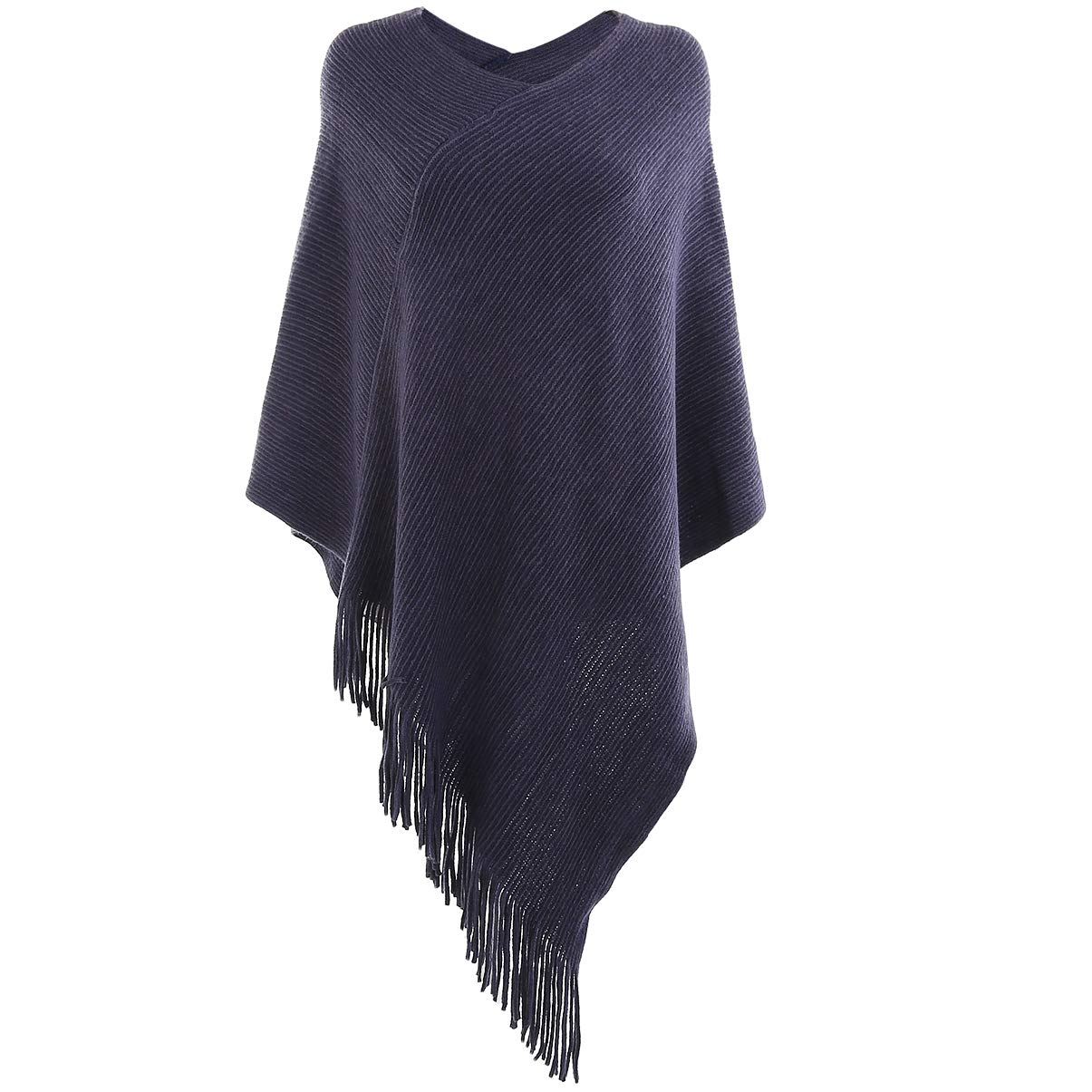 VBG VBIGER Women Knitted Poncho Warm Shawl Wrap Cape Fringed Scarf Pullover Sweater