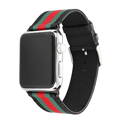 pretty nice dd9f8 9a5f7 HUANLONG VE-0001 Apple Watch Band, Nylon with Genuine Leather Sport  Replacement Strap Wrist Band with Metal Adapter Clasp - 42mm-  Red/Green/Black