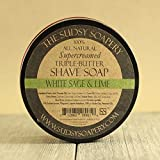 Sudsy Soapery™ Shaving Soap Triple Butter All Natural Super-Creamed White Sage and Lime