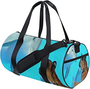 Foldable Duffle Bag Dolphins Looking Lightweight Travel Sports Gym Bags Overnight for Women Men