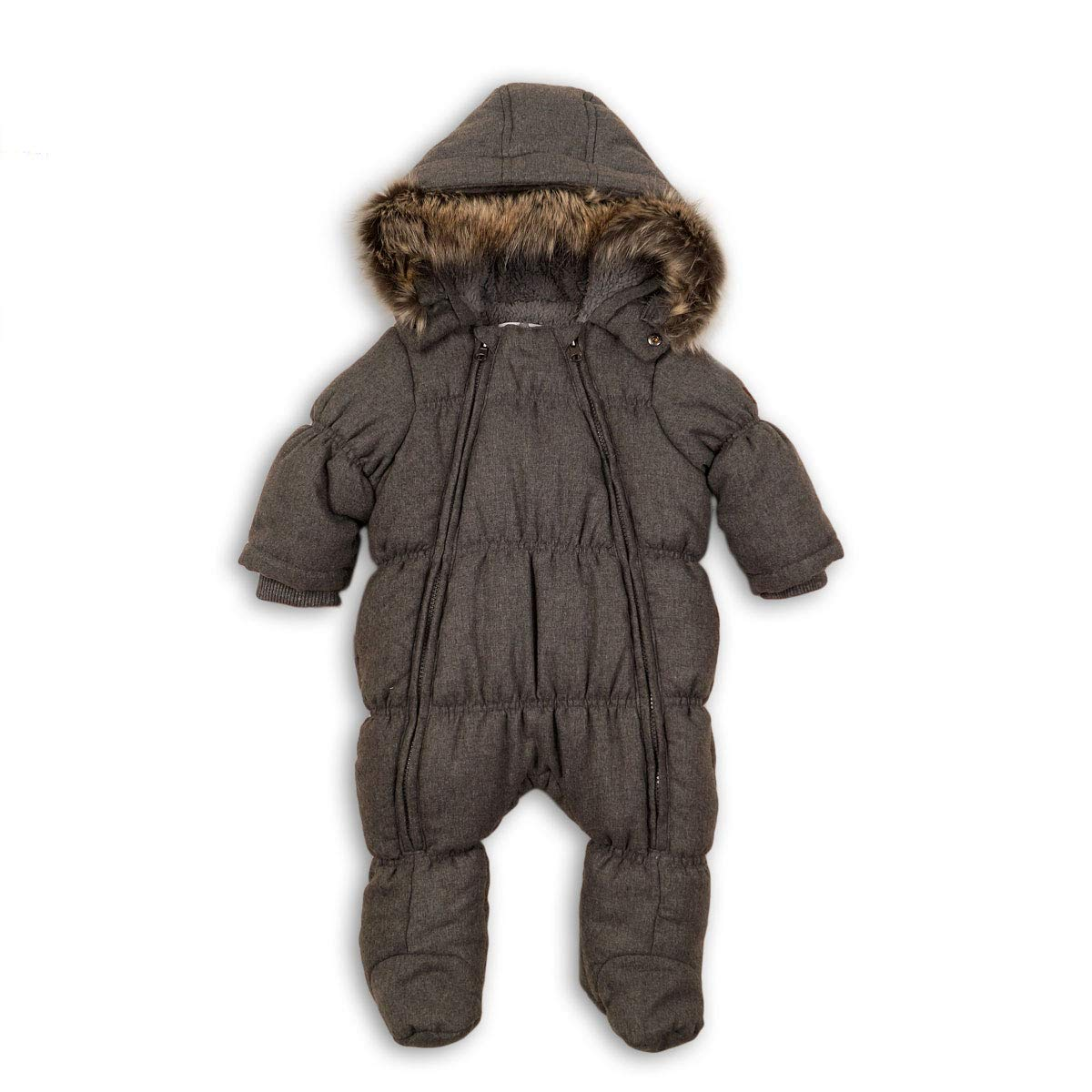 Baby Boys Chambray Effect Grey Winter Snowsuit Pramsuit Jacket 0-12 Months Babaluno