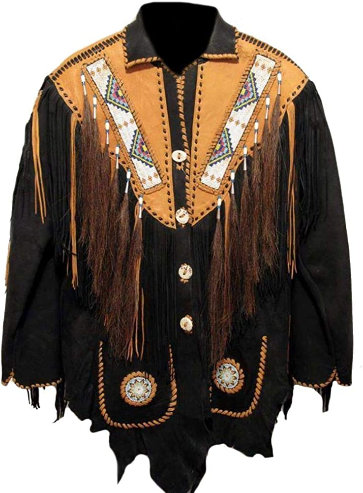 Stormwise Mens Western Cowboy Beaded Real /& Suede Leather Jacket
