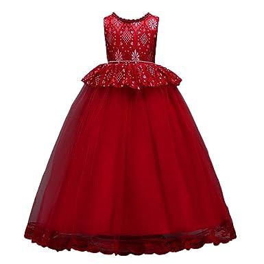 26f3ff1b37e NiSeng Princess Dress Flower Girl Dress Wedding Party Kids Bridesmaid Dress  High Waist Dress Handmade Beaded Dress Summer Sleeveless Wine Red   Amazon.co.uk  ...