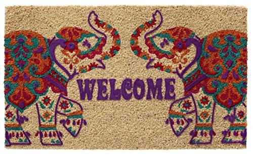 - HF by LT Boho Market Printed and Flocked 100% Coir Doormat, 18