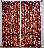Cheap HANDICRAFT-PALACE Elephant Mandala Tapestry Indian Curtain Window Drapes Valances 2 Panels Set Mandala Curtains, Tapestry Drapes, Window Treatment