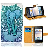 Huawei Ascend Y330 Case, FoneExpert® Premium Leather Flip Wallet Bag Case Cover For Huawei Ascend Y330