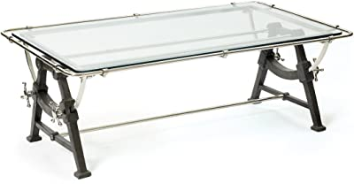 Architectural Retro Coffee Table | Drafting Iron Metal Glass