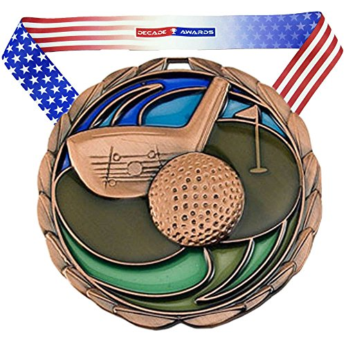 Premium Golf Award - Decade Awards Golf Color Epoxy Medal - Gold, Silver or Bronze | Perfect for Golf Tournaments | Includes Exclusive Stars and Stripes American Flag V Neck Ribbon | 2.5 inch Wide