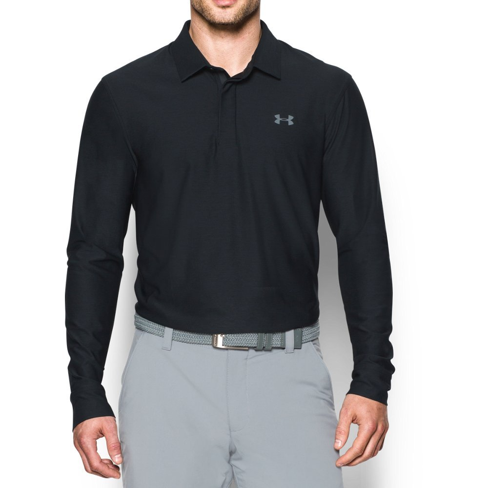 Under Armour Men's Playoff Long Sleeve Golf Polo, Black/Graphite, Small