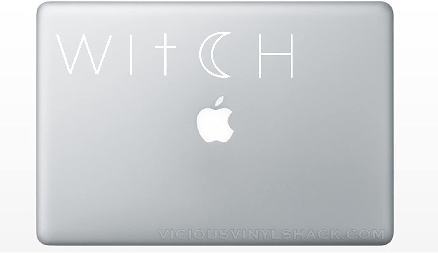 Witch Cross and Crescent Moon Quote Name (WHITE) Vinyl Decal Stickers for MacBook Laptop Car Love Forever Birds Always Relationships Feathers Magic Wicca Halloween Samhain Pagan