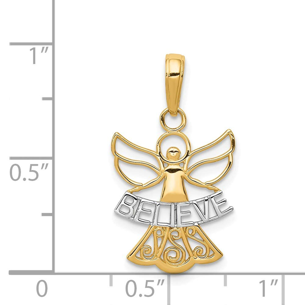 14K White Gold /& Yellow Gold Jewelry Pendants /& Charms Solid 15 mm 24 mm Believe Angel Pendant