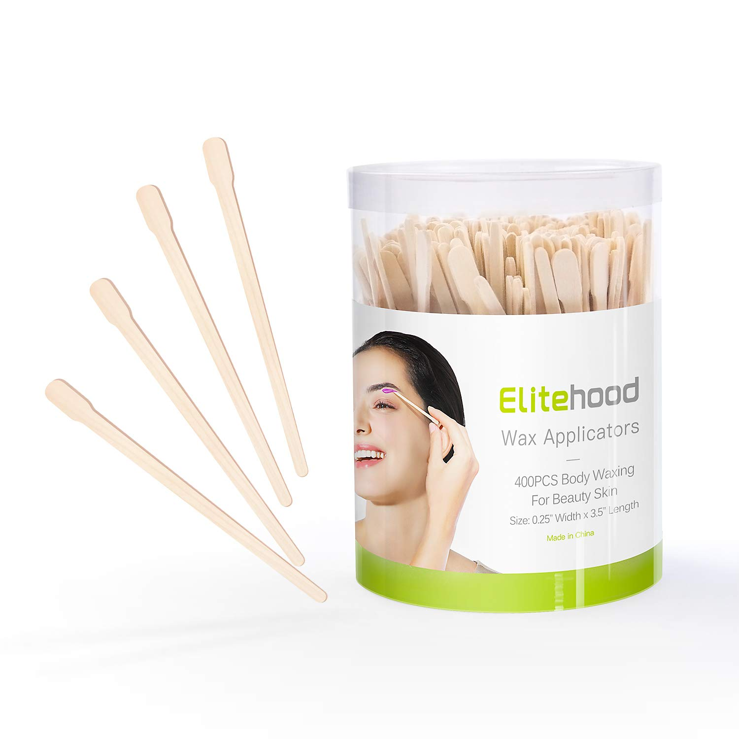 Elitehood 400 Pack Waxing Sticks Small Eyebrow Wax Sticks Wax Spatulas Small Wooden Waxing Applicator Sticks for Eyebrows & Face Hair Removal Sticks, Storage Containers bundled