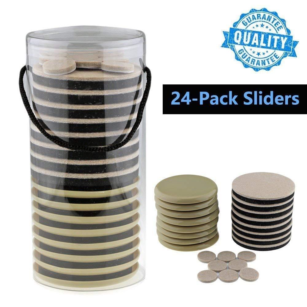 Furniture Pads, Sliders for Moving Furniture 8 Pack 3.5-inch for Carpet Floor & 8 Pack 3.5-inch Funiture Pads for Hard Wood Floor & 8 Pack 1-inch Self Adhesive Stick Felt Pads -24 Bundle Packs Darius