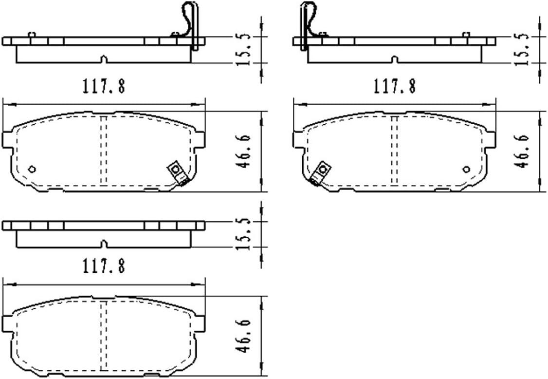 Bremsbelagsatz JC BB08228 Hinterachse f/ür Sorento I Scheibenbremse