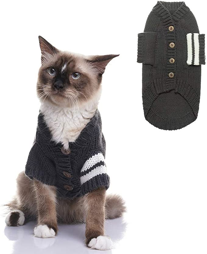Expawlorer Cat Sweater For Cold Weather Grey Knitted Outerwear Soft Pet Clothes Winter Outfit For Cat And Small Dog