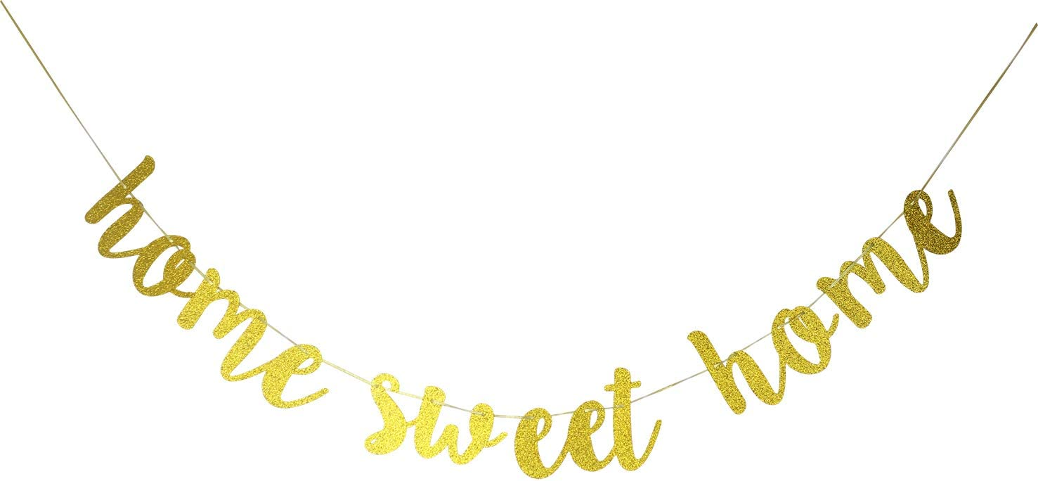 Starsgarden Glitter Gold Home Sweet Home Banner for Housewarming Patriotic Military Decoration Family Party Supplies Cursive Bunting Photo Booth Props Sign(Gold Sweet Home)