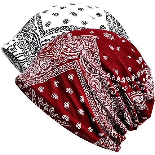 - Slouchy Beanie Skull Cap Hat Infinity Scarf Soft Chemo Hats for Cancer (2 Pack White+Burgundy Waterdrop)