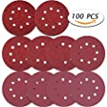 Paxcoo 100 Pcs 5 Inch 8 Holes Sanding Discs 40/ 60/ 80/ 100/ 120/ 180/ 240/ 320/ 400/ 800 Grit Hoop and Loop Sandpaper for Random Orbital Sander