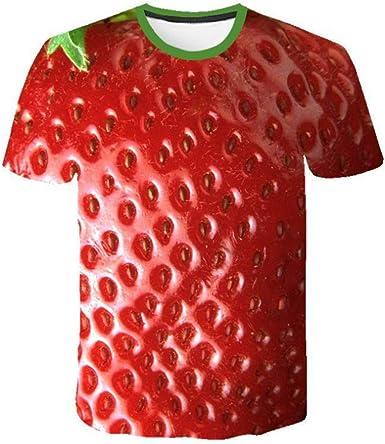 SQSH Camiseta de Manga Corta Hombre Verano Novedad Frutas Comida Kiwi y Fresa Hip Hop Cuello Redondo Camiseta de Manga Corta tee Tops: Amazon.es: Ropa y accesorios