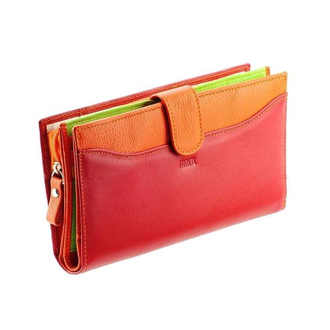 Cartera de mujer / Billetero de piel rojo-naranja N1553 Cartera - Stylo/Estilete: Amazon.es: Ropa y accesorios